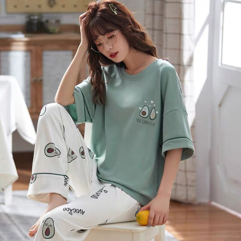 Spring Cotton Cartoon Pajamas Set Women Nightwear Short Sleeve AND Pants Homewear Ladies 2020 Summer Casual Home Clothes Female