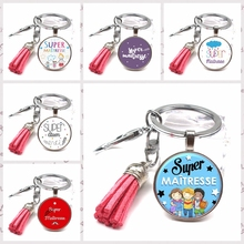 Charm Super Maitresse Keychain Cute Multicolor Tassel DIY Crystal Glass Pendant Teachers Day Creative Gifts