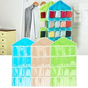 Household Wall Hanging Bag Sundries Storage Organizer Socks Bra Underwear Holder Hanger Bag Transparent 16 Pockets Container