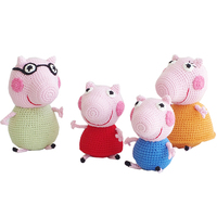 2019 Cute handmade pig family doll crochet toy gift, 4 small pig wool knit doll best birthday gift (finished, non DIY)