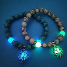 8mm Natural Stone Beads Bracelet Glow in the Dark Lotus Pendant Bracele