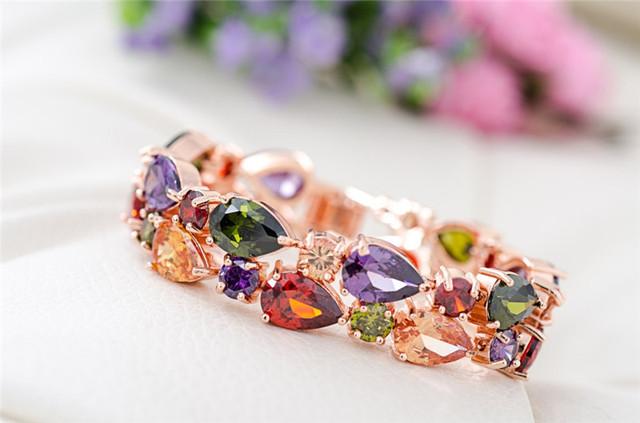 High Quality Bracelet For Women Pulseira Noiva Feminina Gold Pleated Clear Cubic Zircon Bracelets Bangles Bride Gift