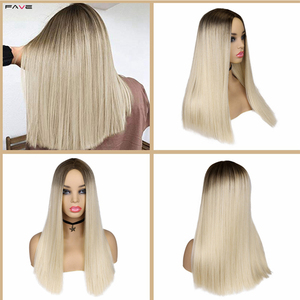 Image 4 - FAVE Mixed Ash Brown Blonde Straight Bob Shoulder Length Synthetic Wig Middle Part Cosplay Party Heat Resistant Fiber For Women