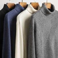 Männer Pullover Männer Grundlegende Pullover Slim Fit Langarm Strickwaren Winter Pull Homme 2019 Neue Rollkragen 3518