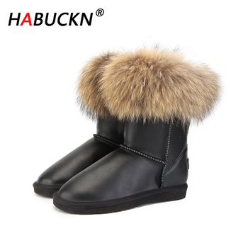 HABUCKN Women natural real fox fur snow boots fashion boots women of high quality genuine leather Waterproof Boots Large size top fashion 2018 real wool botas mujer high quality genuine sheepskin leather snow boots natural fur waterproof women shoes