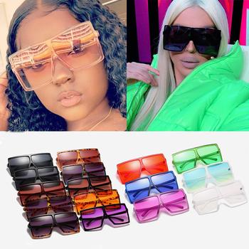 Sprzedaż hurtowa 28 kolorów czarny różowy One Piece Oversize kwadratowe okulary przeciwsłoneczne dla kobiet luksusowa marka okulary przeciwsłoneczne damskie duże odcienie luzem tanie i dobre opinie salutami CN (pochodzenie) WOMEN SQUARE Dla osób dorosłych Z tworzywa sztucznego NONE Gradient Fotochromowe UV400 65mm