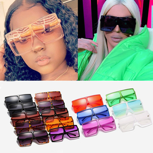 Wholesale 28 colors black pink One Piece Oversize Square Sunglasses For Women Luxury Brand Sun Glasses Female Big Shades In Bulk