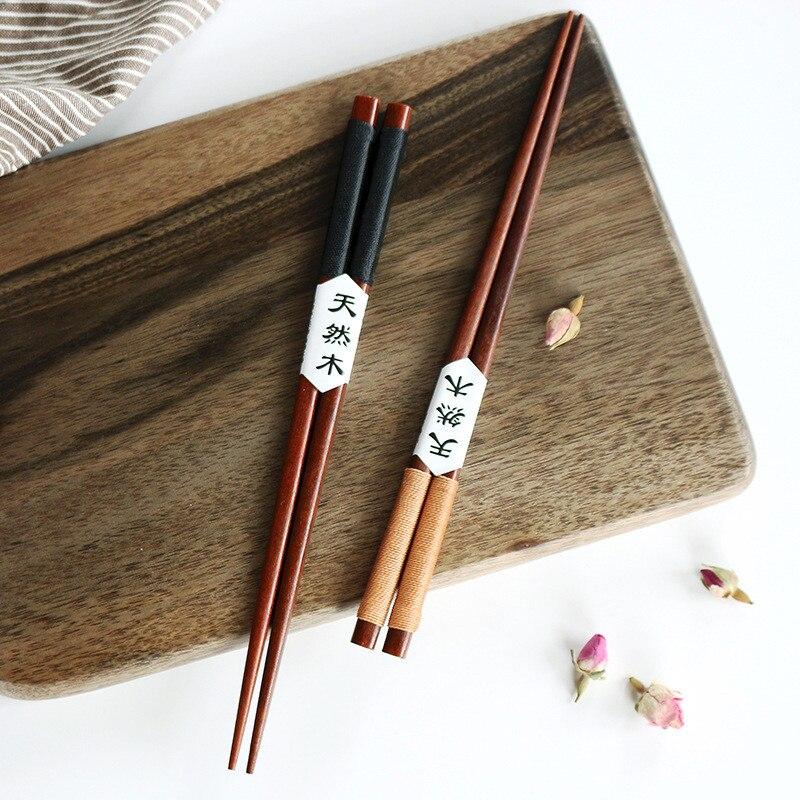Palillos de madera Natural japoneses hechos a mano, para la salud, sin laca, vajilla, Sushi, Boda China, regalos, 2 pares