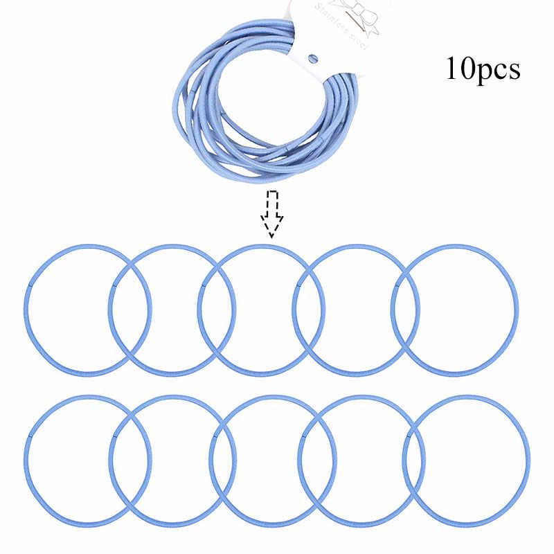 10Pcs 5cm สีสันผสม Elastic Hairbands เส้นผ่านศูนย์กลาง 5 ซม.คุณภาพสูงสำหรับผู้หญิงผู้ชายเด็กผู้หญิงผมเชือกแหวนผมอุปกรณ์เสริม