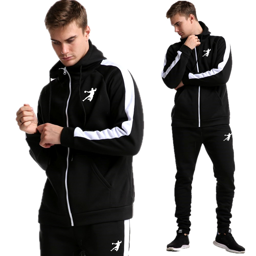 Hot Brand Causal Tracksuits Men Set Hooded Thicken Fleece Hoodies + Sweatpant 2020 Winter Spring Sweatshirt Sportswear Male