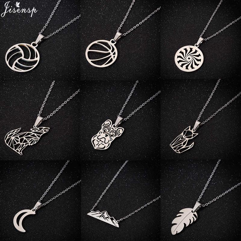 Jisensp 2019 proste mody Hollow księżyc ze stali nierdzewnej stalowy wisiorek naszyjnik codzienna biżuteria dla kobiet dziewczyn Party prezent bijoux