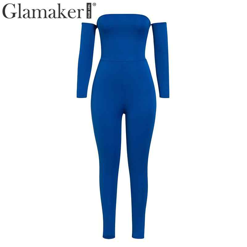 Glamaker Knitted off shoulder long sleeve jumpsuit Women lace up hollow out elegant jumpsuit Female autumn winter sexy jumpsuit