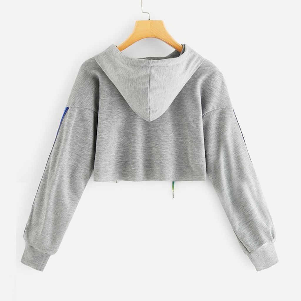 المرأة المحاصيل هوديس الخريف الشارع الشهير لطيف الفتيات قوس قزح الرباط رقيق Sweatershirt قبعة الدانتيل يصل كم طويل تونك القمم الأسود