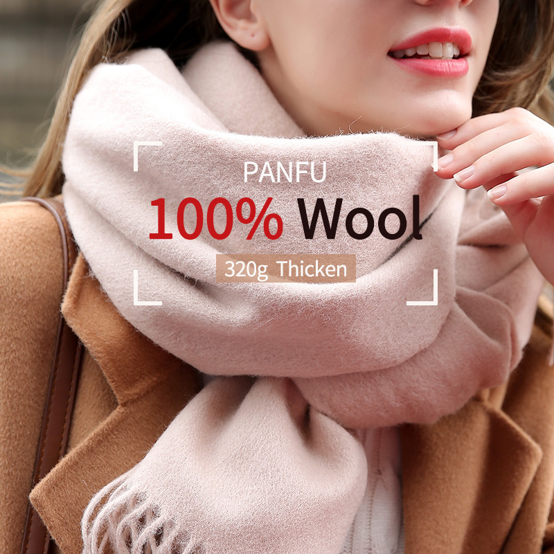 Women 100% Real Wool Scarf Winter Solid Beige Echarpe Thicken Pashmina Wrap Tassel Warm Foulard Femme Pure Wool Scarves Cashmere