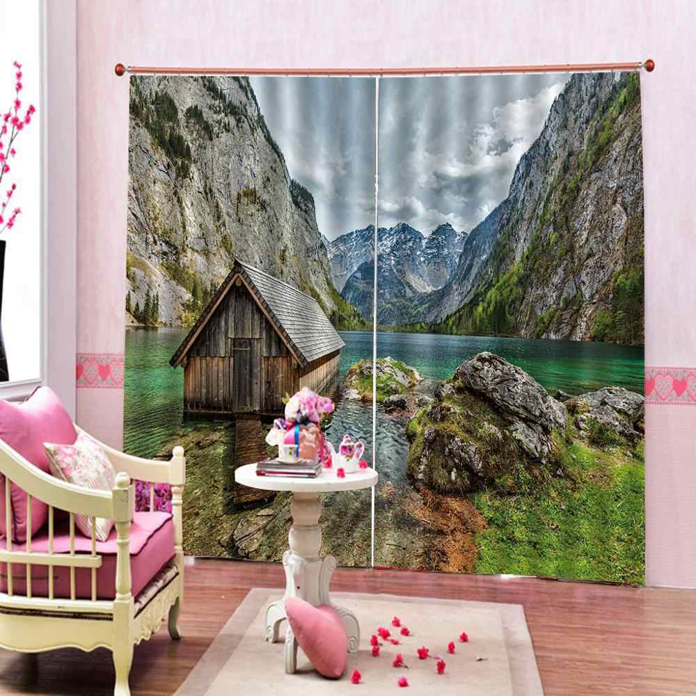Custom Natural Scenery Window Curtains Wooden Houses Blackout Curtains Indoor Drapes  for Living room bedroom