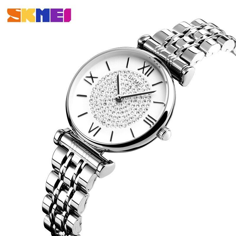 SKMEI Casual Quartz Watch Fashion Women Watches 3Bar Waterproof Rhinestone Inlay Stainless Steel Strap Ladies Reloj Mujer 1533