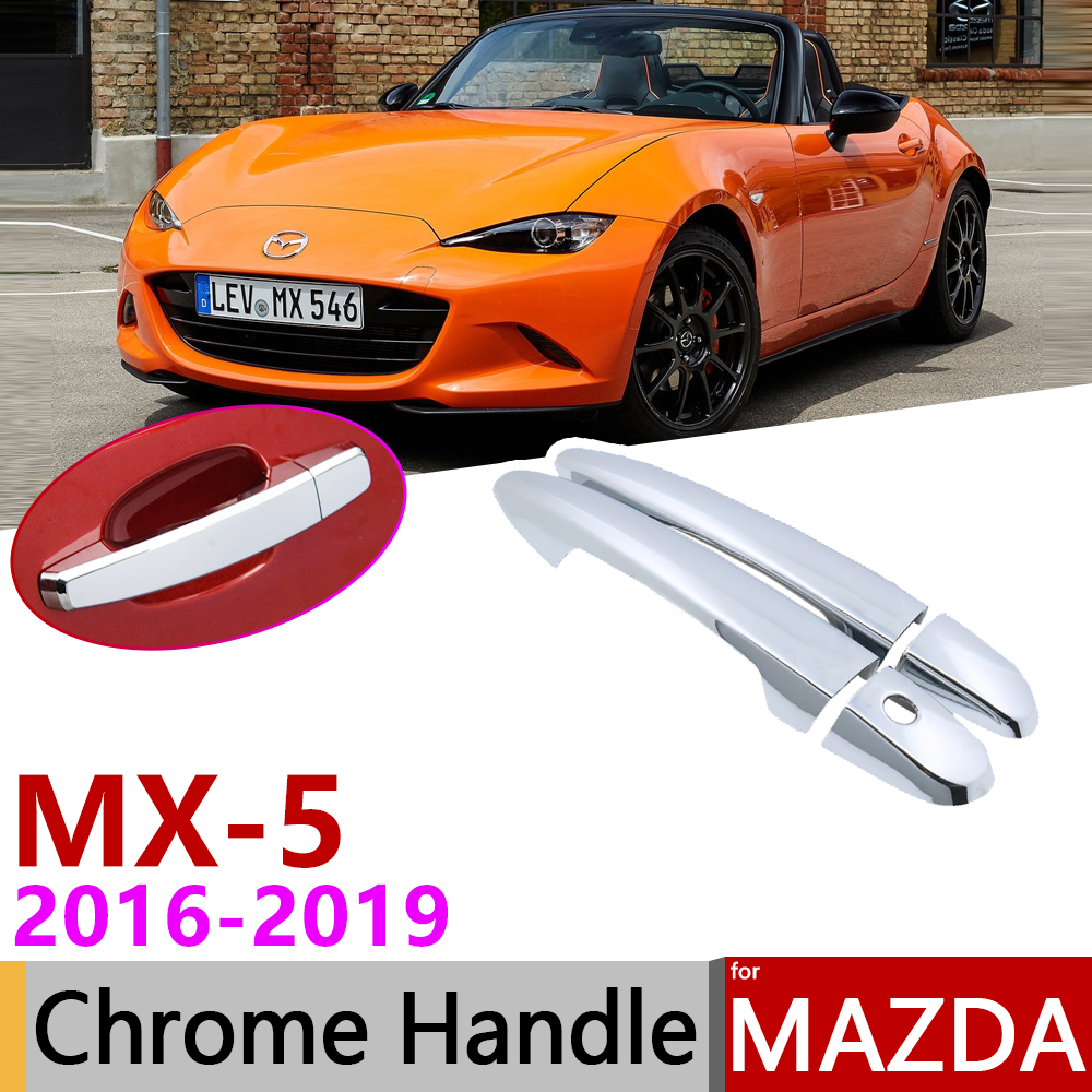for <font><b>Mazda</b></font> <font><b>MX</b></font>-<font><b>5</b></font> <font><b>MX</b></font> <font><b>5</b></font> MX5 <font><b>ND</b></font> 2016~2019 Chrome Exterior Door Handle Cover Car <font><b>Accessories</b></font> Stickers Trim Set of 4Door 2017 2018 image