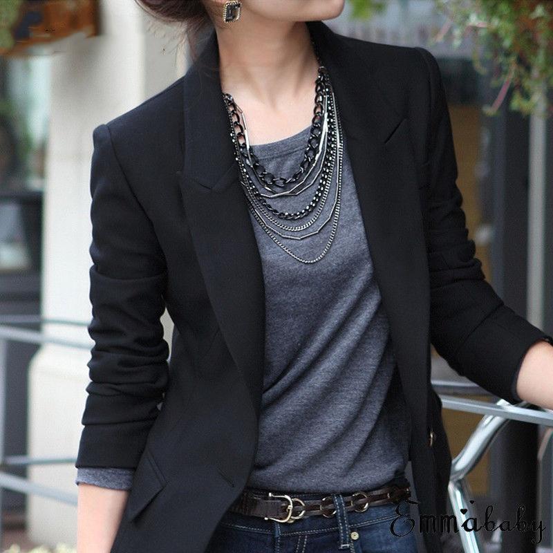 1pc Robe Femme Hot Selling Women Slim OL Suit Casual Blazer Jacket Coat Tops Outwear Long Sleeve Plus Sized formal single button
