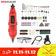 NEWACALOX Mini taladro eléctrico de 220V y 260W, EU/US, rectificadora de velocidad Variable, accesorios de grabado, herramientas rotativas Dremel
