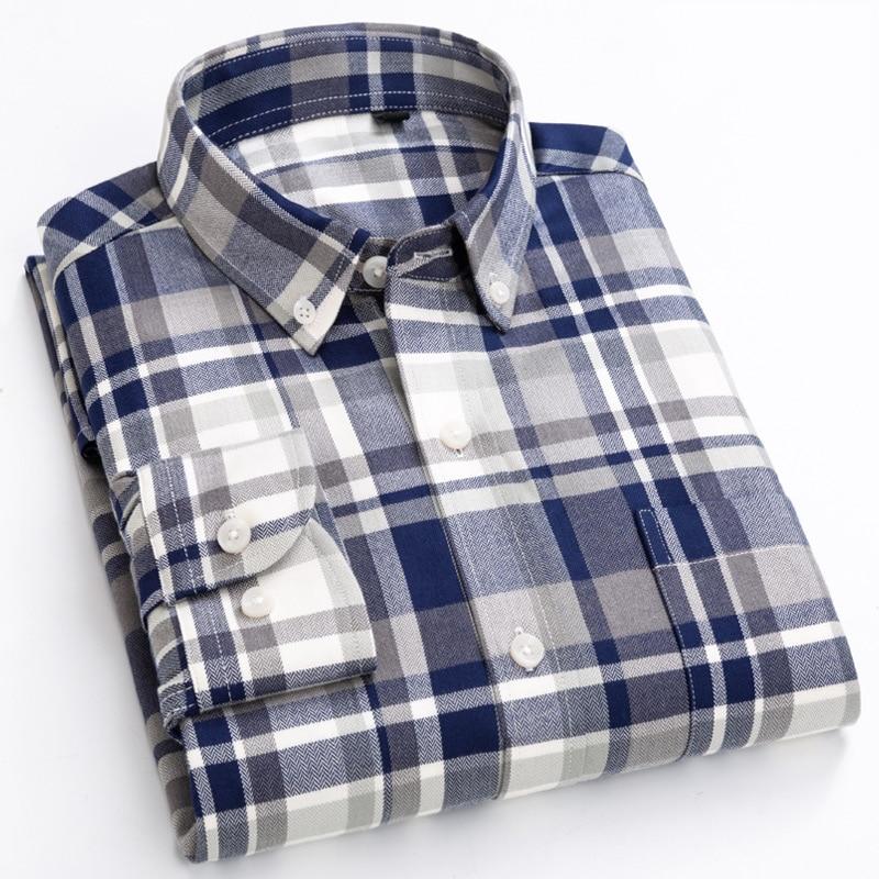Men's Plaid Checkered Long Sleeve Dress Shirts Single Patch Pocket Comfortable Bamboo Fiber Standard-fit Casual Gingham Shirt