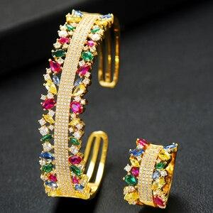 Image 1 - GODKI  2PCS Bangle/Ring Set Luxury Korean Saudi Arabia Jewelry Sets For Women Wedding Engagement brincos para as mulheres 2019