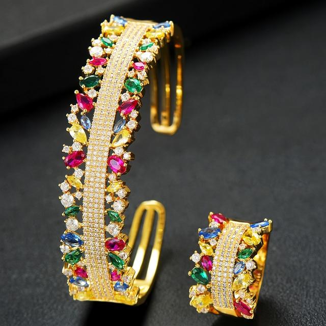 GODKI  2PCS Bangle/Ring Set Luxury Korean Saudi Arabia Jewelry Sets For Women Wedding Engagement brincos para as mulheres 2019