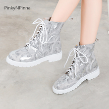 цена на large size flat artsy ankle boots women cross tied graffiti print mixed color genuine cow leather young ladies cool shoes female
