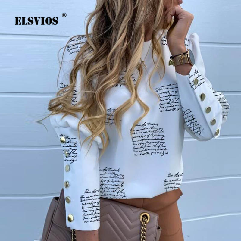 3XL Women Back Metal Buttons Blouse Office Lady Casual O Neck Solid Long Sleeve Shirt Tops Elegant Autumn Pullover Drop Shipping