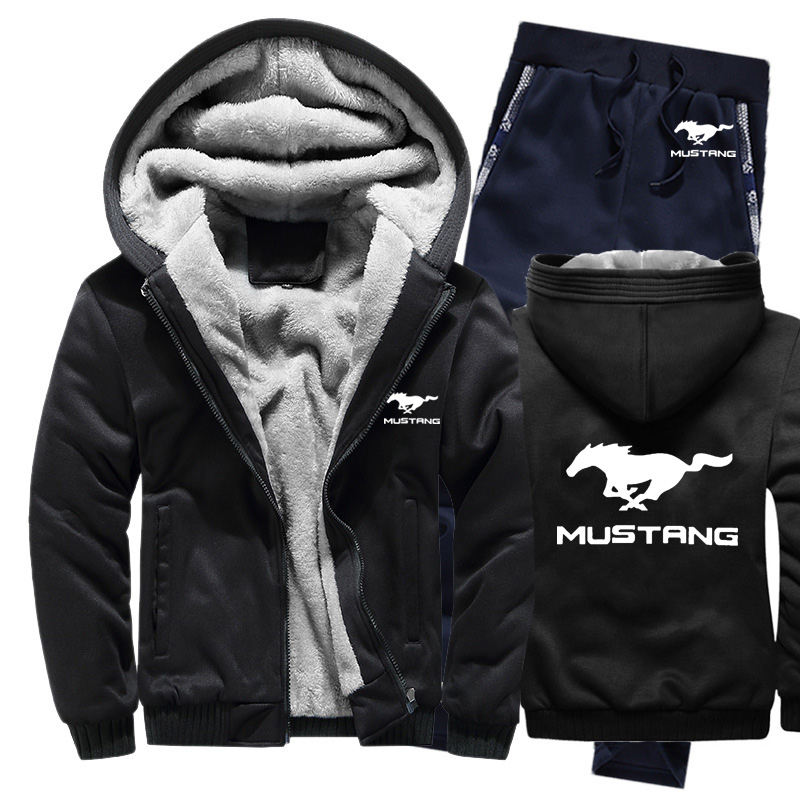 Hoodies Men Mustang Car Logo Mens Hoodies Suit Winter Thicken Warm Fleece Cotton Zipper Tracksuit Mens Jacket+Pants 2Pcs Sets