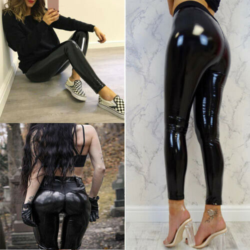 Womens Sexy Black Pants Slim Soft Stretchy Shiny Leggings Mid Waist Faux Leather Vinyl Female Leggings Trouser Pants
