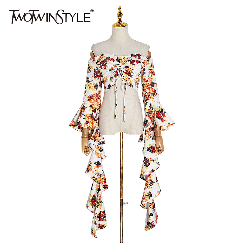 TWOTWINSTYLE Sexy Slash Neck Printed Blouse Shirt Women Ruffle Flare Sleeve Lace Up Crop Tops Female Fashion Clothes 2020 Summer
