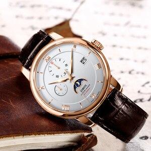 Image 5 - Suíça marca de luxo lobinni men relógios gaivota relógio automático mecânico masculino safira fase da lua 50m à prova dwaterproof água L1888 1