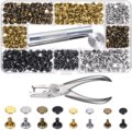 Leather Rivets Double Cap Rivet Tubular Metal Studs with Punch Pliers Kit for DIY Leather Craft Repairs Decoration with Tool
