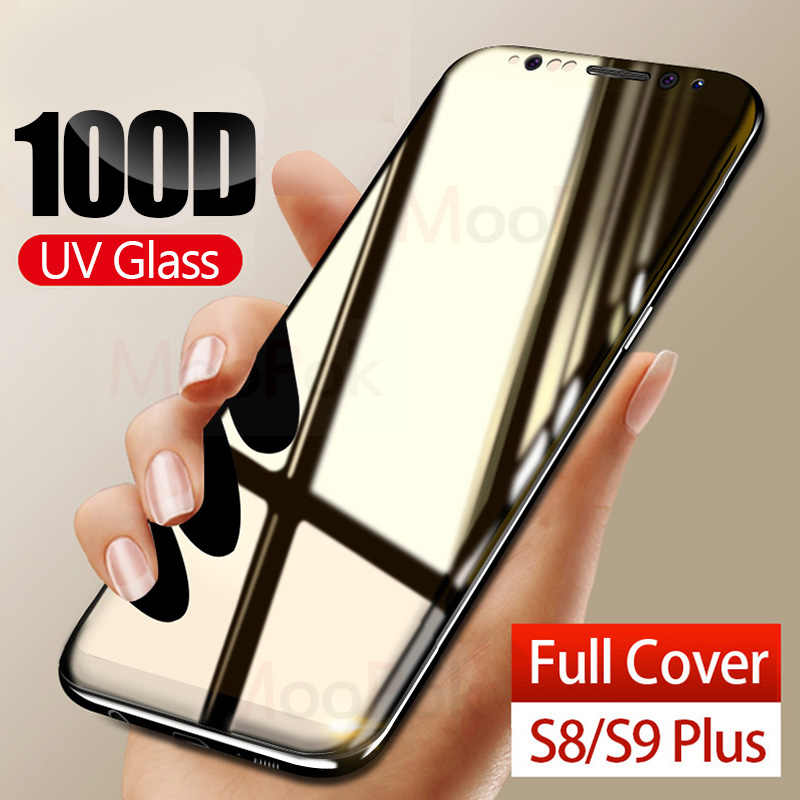 100D UV Cair Melengkung Penuh Lem Tempered Glass untuk Samsung Galaxy S8 S9 S10 Plus Lite Note 8 9 10 screen Protector Full Cover