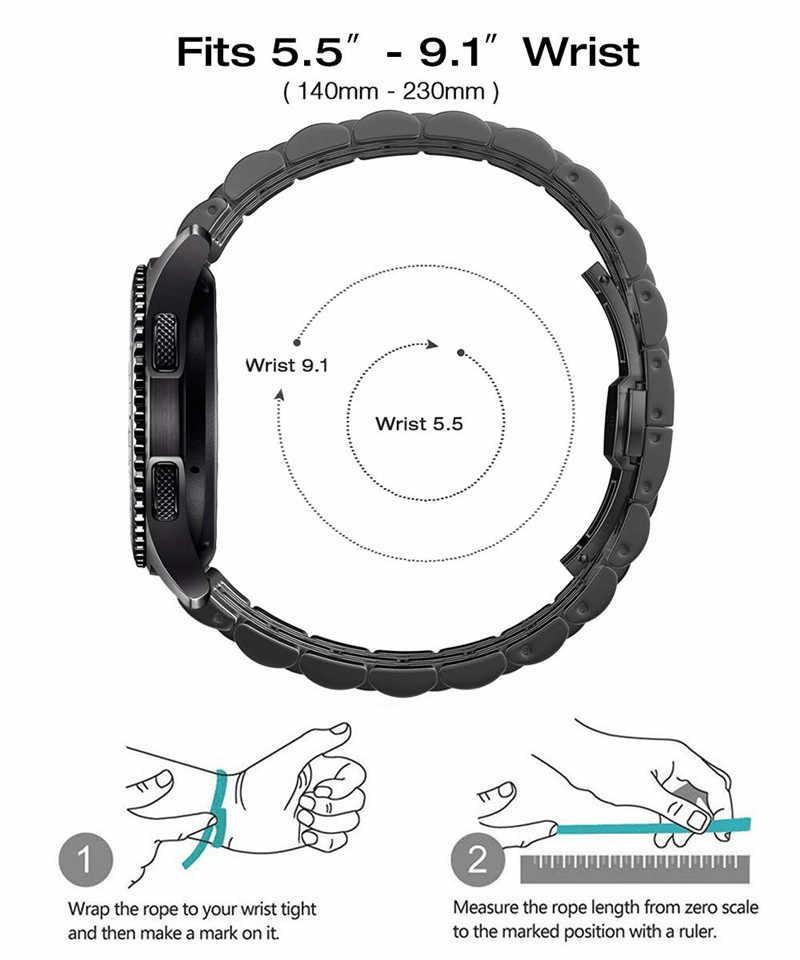 22 مللي متر 20 مللي متر لسامسونج غالاكسي ووتش 46 مللي متر 42 مللي متر معدن الفولاذ المقاوم للصدأ حزام معصمه سوار ل Active2 40 مللي متر 44 مللي متر Amazfit GTR