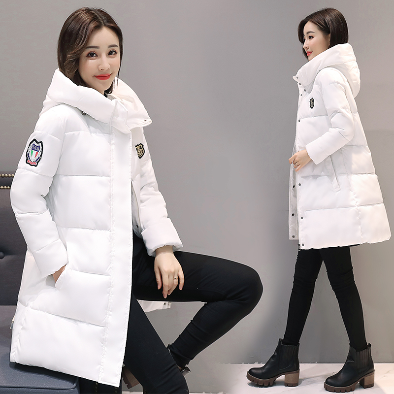 white women winter hooded warm coat plus size candy color cotton padded jacket female long   parka   womens wadded jaqueta feminina