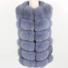 2019 new Women Real Fox Fur Coat Winter natural fur Vest Coats Short Natural Real Fur Coat real Fur Jacket cheap FURTJY Thick Warm Fur Thick (Winter) REGULAR Natural Color O-Neck Full zipper Solid Casual Sleeveless Vest