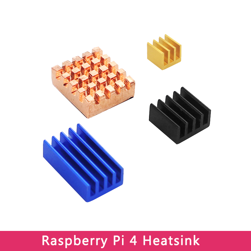 Raspberry Pi 4 Model B Heat Sink Aluminum & Copper Heatsinks Golden Black Blue Metal CPU RAM Cooling Pad For Raspberry Pi 4