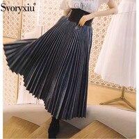 Svoryxiu 2019 Autumn Winter Runway Denim Pleated Skirt Women's Fashion Single Breasted Denim Long Skirt Female