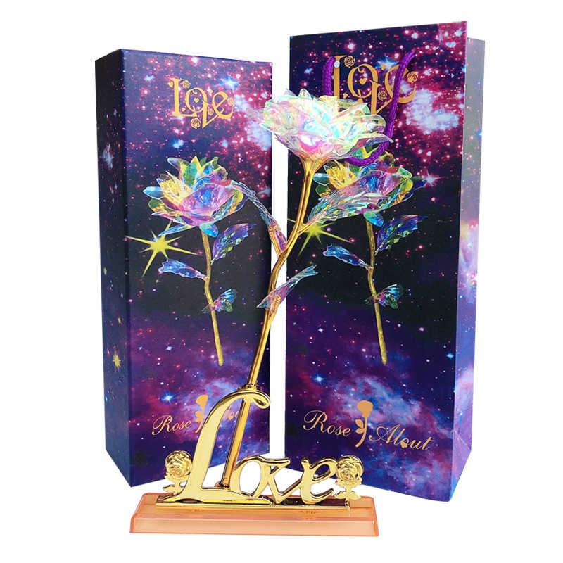 סימולציה מלאכותי 24K זהב לסכל רוז פרח קשת Valentine's Day רומנטי פרח חתונה מתנה יפה LED זוהר