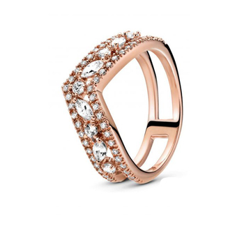 2020 Autumn Collection ring Triple Band Pave Snake Sparkling Crown Sparkling Snake Ring Marquise Double Wishbone ring for Women - 7, PDR105