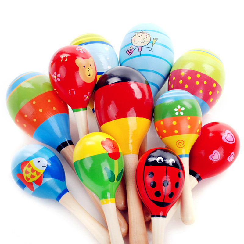 1pc Baby Kid Wooden Ball Toy Sand Hammer Rattle Musical Instrument Percussion Infant Dropshipping Support