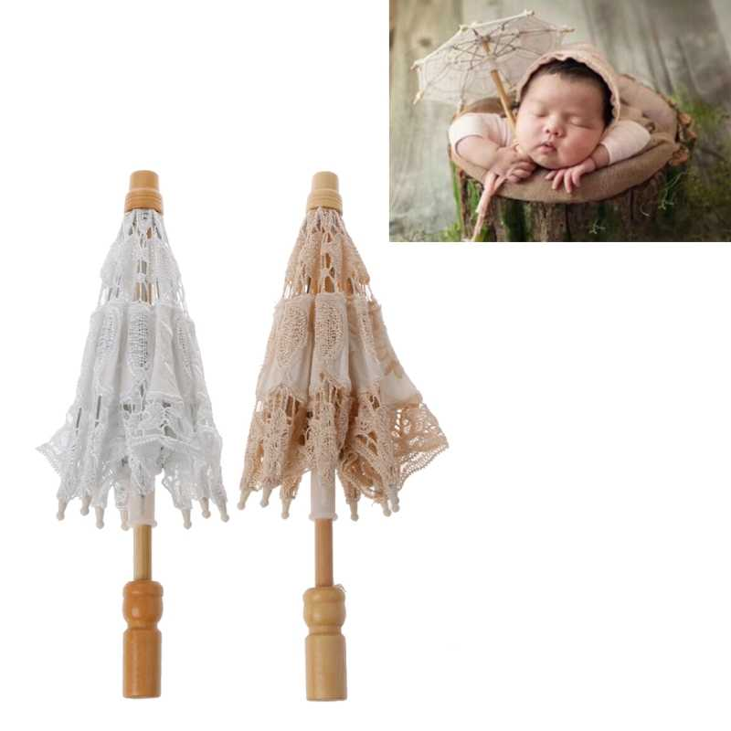 Hot Newborn Baby Photography Props Lace Umbrella Infant Studio Shooting Photo Prop Shower Gift