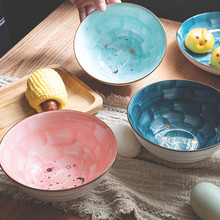 6 Inches Nordic Starry Sky Ceramic Bowl New Bone China Handpainting Round Salad Bowl Soup Noodle Bowl Dessert Cake Tableware 5 6 8 inch japanese cherry blossom ceramic ramen bowl large instant noodle rice soup salad bowl container porcelain tableware