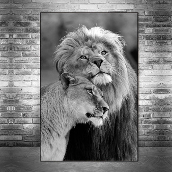 African Wild Lions Lover Canvas Paintings on the Wall Art Lions Poster And Prints Black And White Animals Art Pictures Cuadros african large lions face canvas paintings on the wall art posters and prints animals lions art pictures for living room cuadros