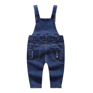 Image 3 - ילדים של ג ינס סרבל 12M כדי 4T ילדים כחול סרבל ג ינס מכנסיים עם חורים שבורים בני בנות ילדים של בגדים