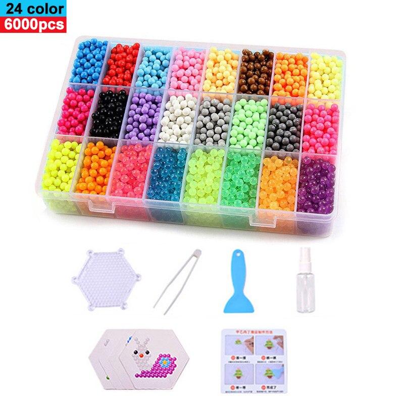 6000 pçs magia quebra-cabeça brinquedos névoa de água conjunto grânulo meninos meninas diy artesanato animal artesanal grânulos pegajosos brinquedos educativos crianças presentes