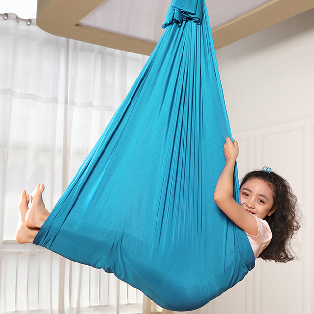 Multifunctional Elastic Kids Children Hanging Cuddle Wrap Swing Seat for Autism ADHD ADD Therapy Aerial Yoga Hammock 4