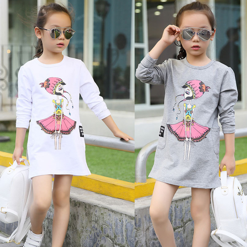 Girls T-Shirts Tops Long-Sleeve Autumn Kids 12-Years Cotton Spring for 6-8 9-10