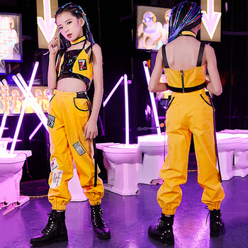 Hip Hop Dance Costumes Kids Yellow Jazz Street Dance Performance Clothing Girls Stage Rave Outfit Practice Clothes 2 Pcs DC2979